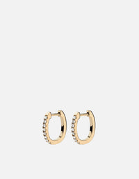 Miansai - Linear Huggie Earrings, 14k Gold Pavé