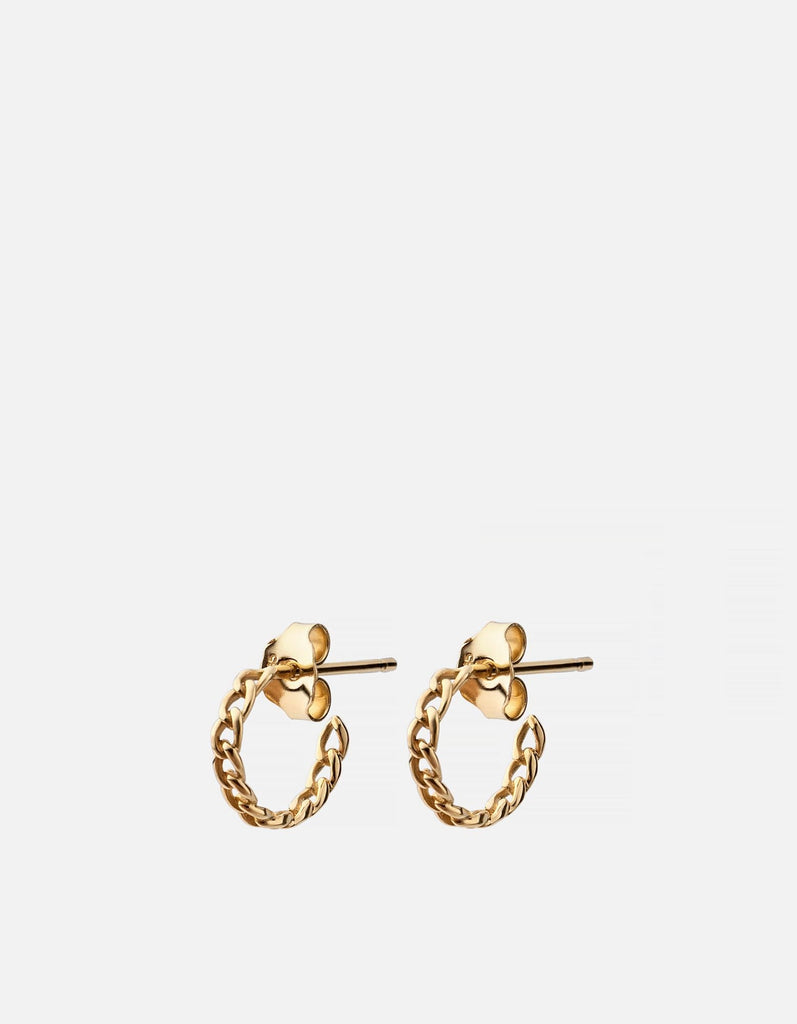 Cuban Link Huggie Earrings, 14k Yellow Gold - Miansai
