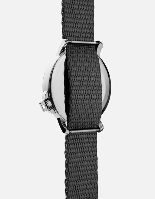 M12 Swiss Watch Silver on Nylon, Gray | Miansai