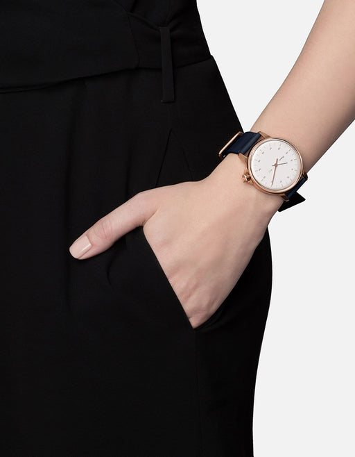 M12 Swiss Watch Rose|White on Leather, Navy Blue | Miansai