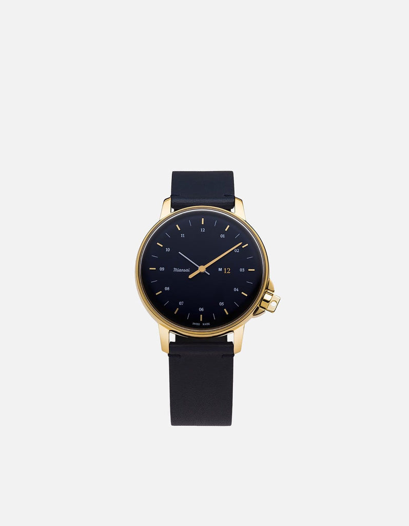 Miansai - M12 Swiss Gold|Navy Navy Blue Leather