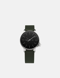 Miansai - M12 Stainless|Black on Two-Piece Leather Strap, Hunter Green