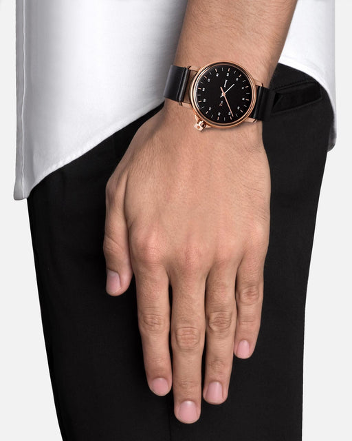 M12 Swiss Watch Rose|Black on Leather, Black | Miansai