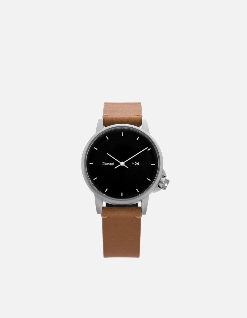M24 II Watch Black on Leather, Tan | Miansai