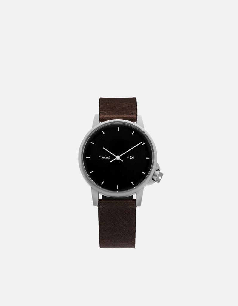 M24 II Watch Black on Leather, Vintage Chocolate | Miansai