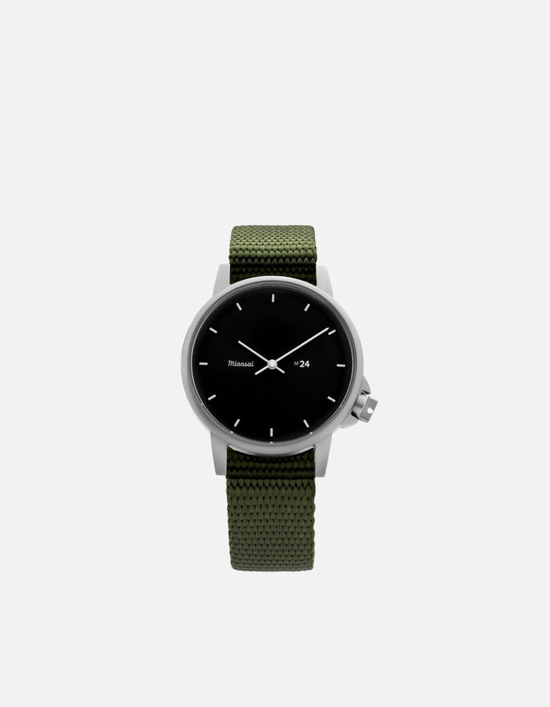 M24 II Watch Black on Nylon, Hunter Green | Miansai