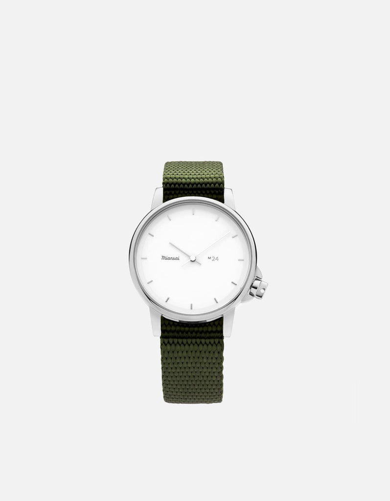 M24 II Watch White on Nylon, Hunter Green | Miansai