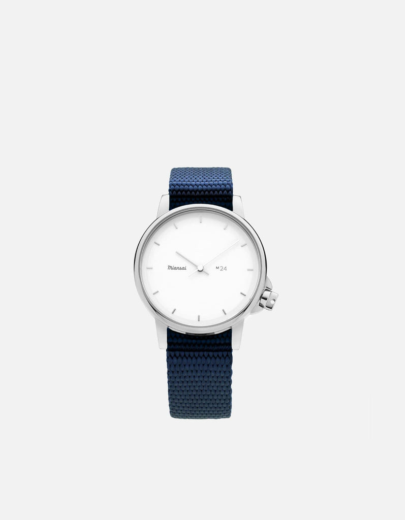 M24 II Watch White on Nylon, Navy Blue, Navy Blue | Miansai