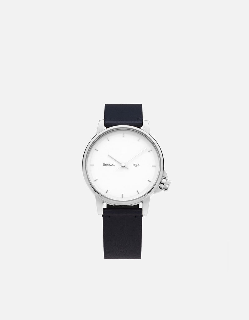 M24 II Watch White on Leather, Navy Blue | Miansai