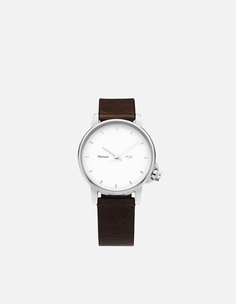 M24 II Watch White on Leather, Vintage Chocolate | Miansai