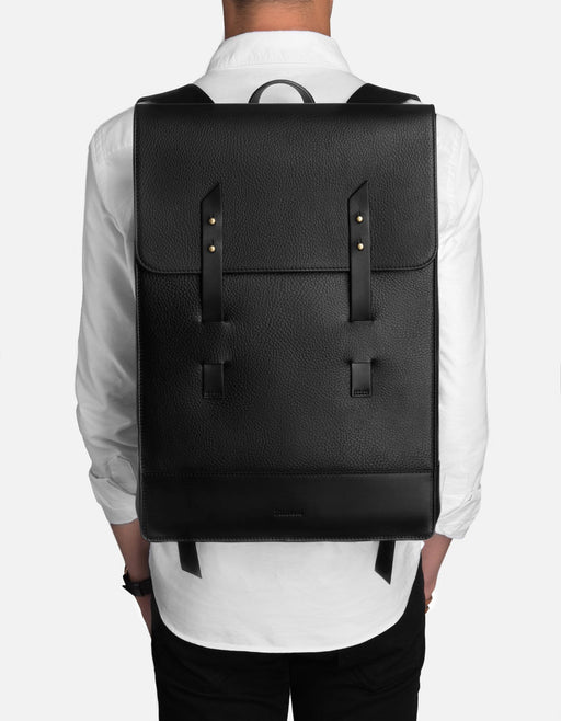 Harbour Rucksack, Black Textured | Men's Leather Bags | Miansai