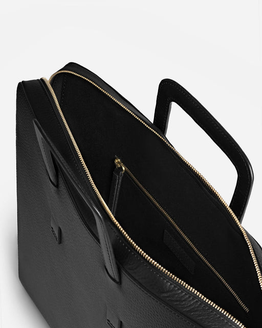 Slim Briefcase, Textured Black | Men's Leather Bags | Miansai