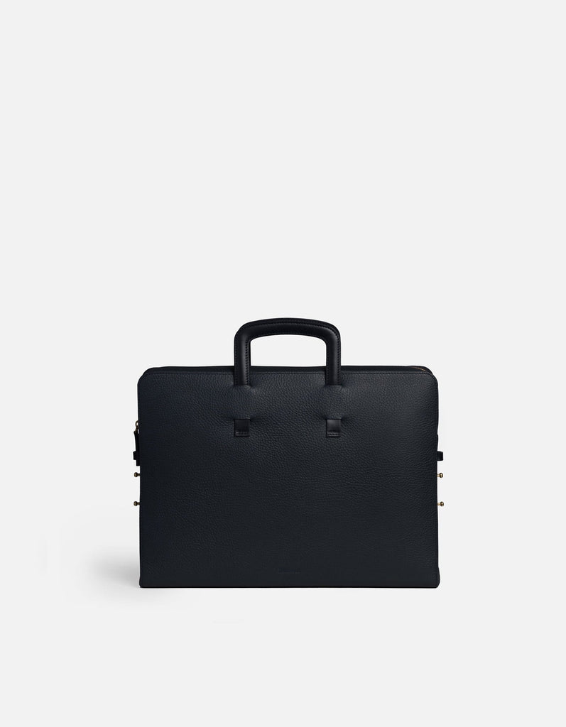 Miansai - Slim Briefcase, Textured Navy Blue