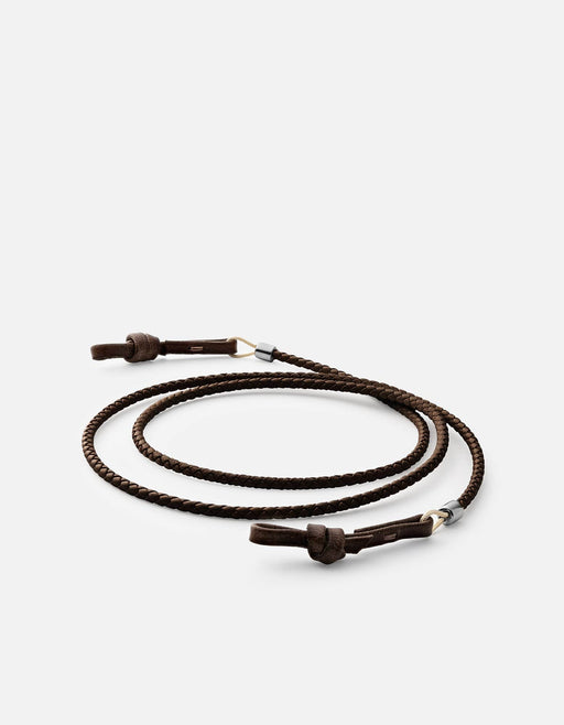 Miansai - Nexus Braided Leather Sunglass Cord, Sterling Silver