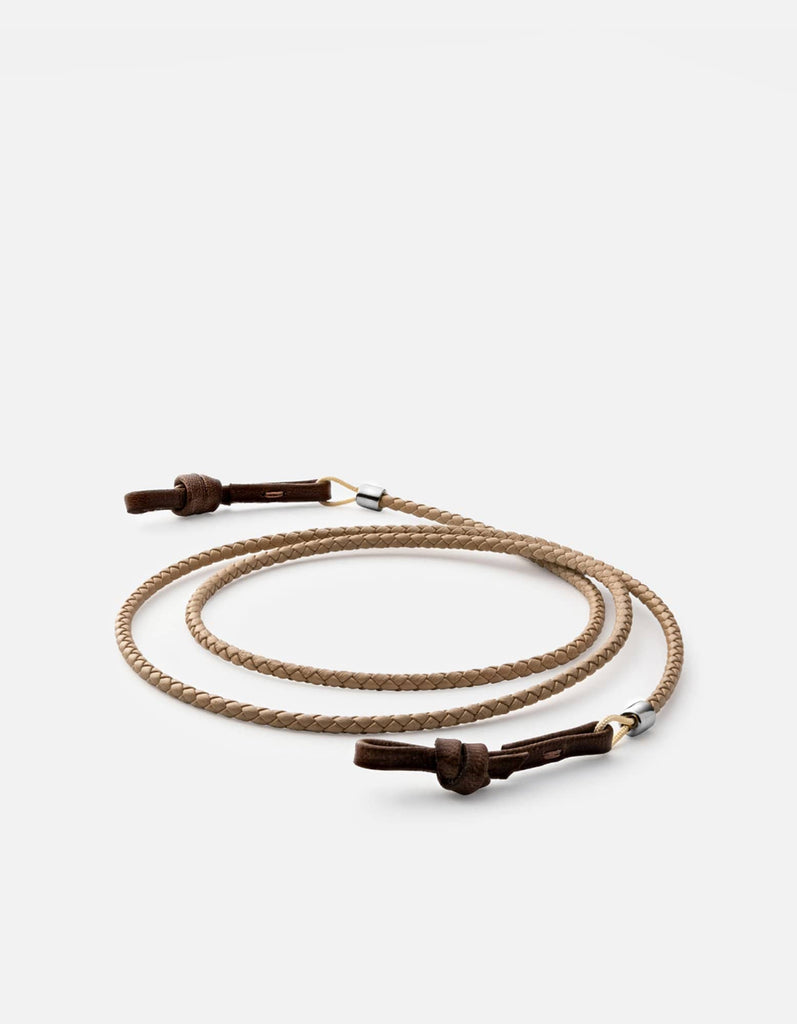 Nexus Braided Leather Sunglass Cord, Sterling Silver | Dry Goods | Miansai