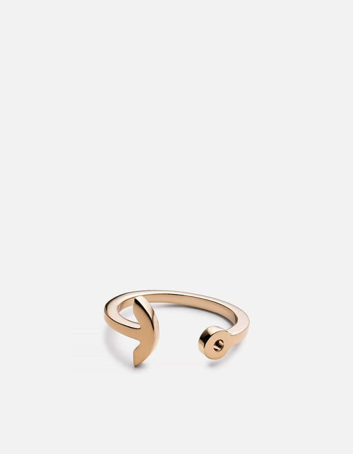 Thin Modern Anchor Ring, 10k Solid Yellow Gold
