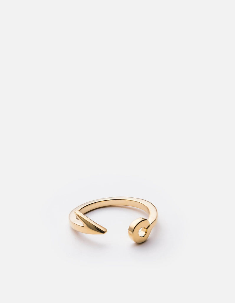 Thin Fish Hook Ring, 10k Solid Gold