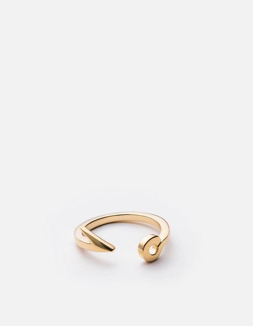 Miansai - Thin Fish Hook Ring, 10k Solid Gold