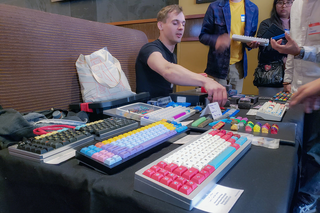 Table of Mechanical Keyboards at the Bay Area Mechanical Keyboard Meetup
