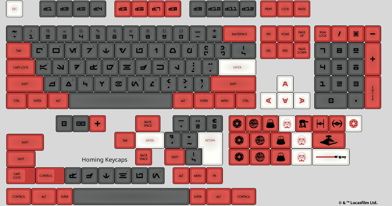 Aurebesh with English Sublegends DSA Galactic Empire Mechanical Keyboard Keycap Set