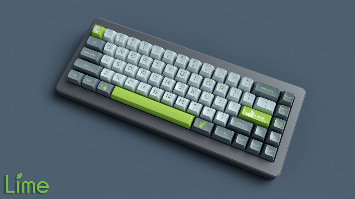 Maxkey Lime Keycap Set on M65-A Mechanical Keyboard by Rama