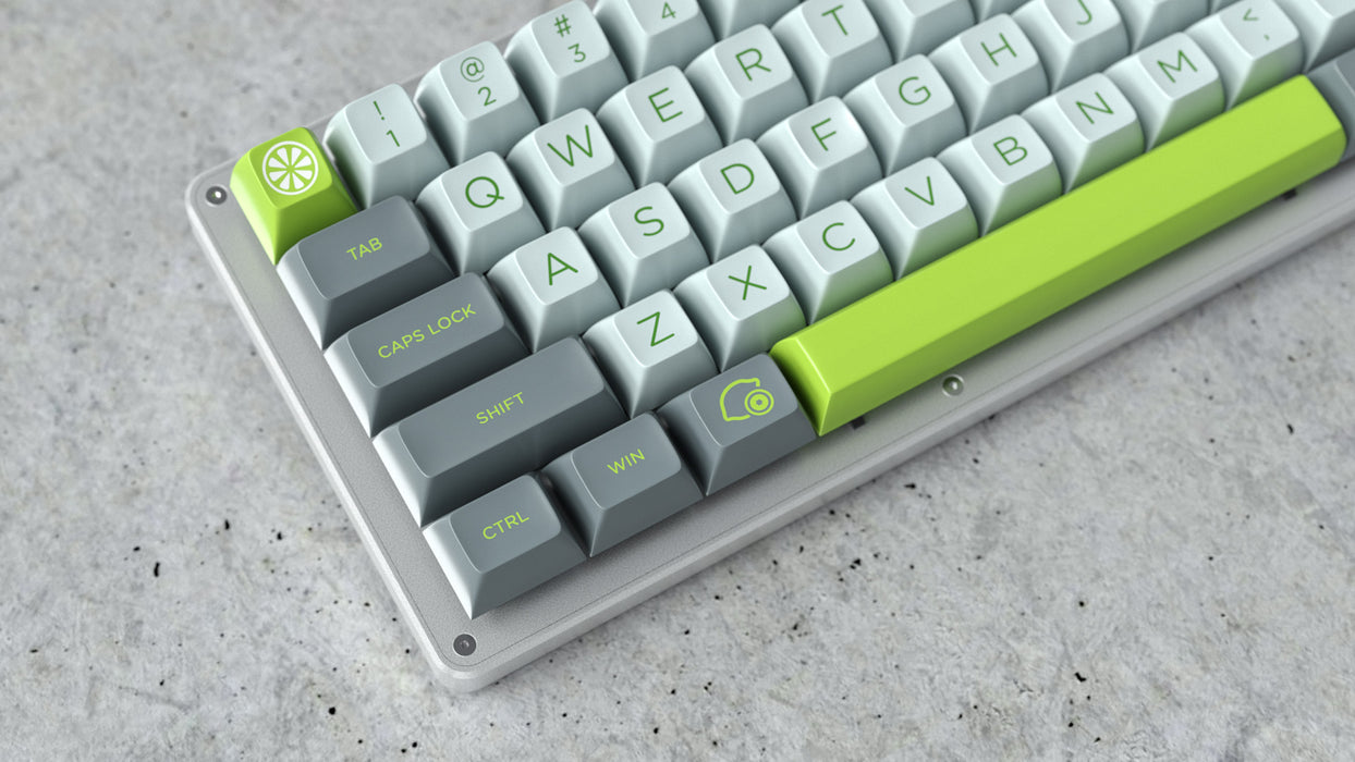 QWERTY Closeup of Maxkey Lime on a WhiteFox Keyboard
