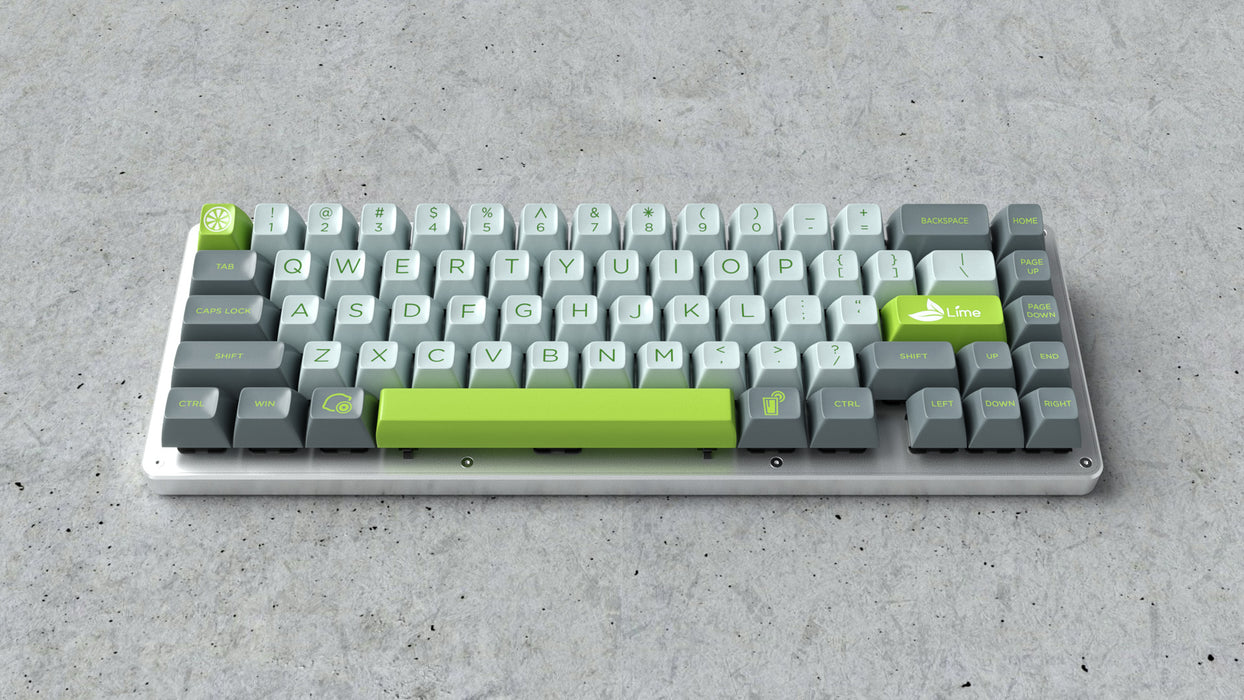 Maxkey Lime Keycap Set on a WhiteFox Mechanical Keyboard Angled