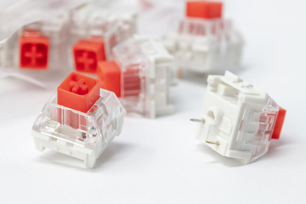 Close Up of Kaihl Box Red Mechanical Switches Manufactured by Kaihua