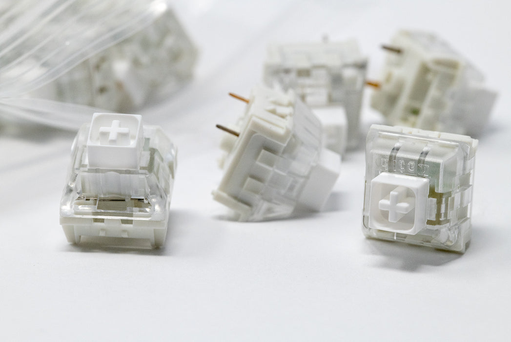 Close Up of Kaihl Box White Mechanical Switches Manufactured by Kaihua