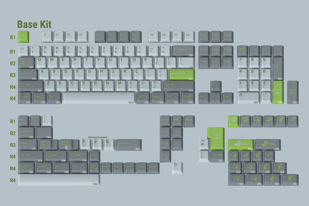 Full Keycaps Included with GMK Lime Mechanical Keyboard Keycap Set