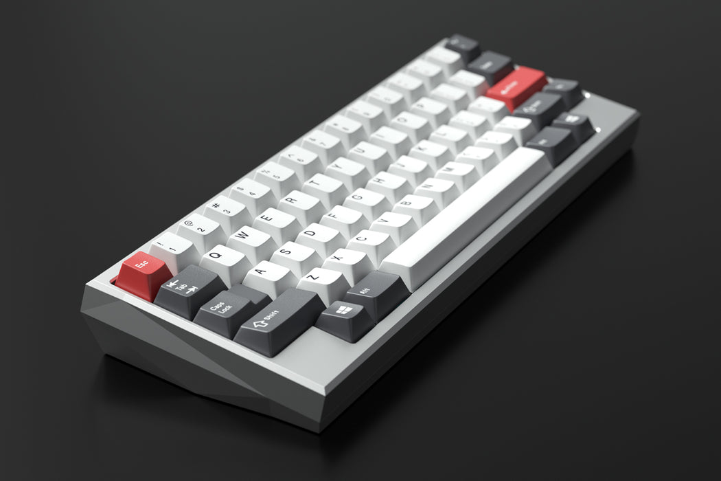 Kira 60 Mechanical Keyboard Render with White, Black, and Red Keycaps