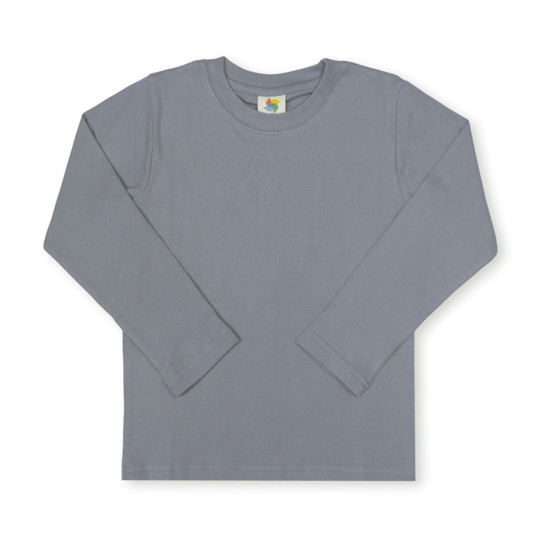 Gray Long Sleeve Plain Tee