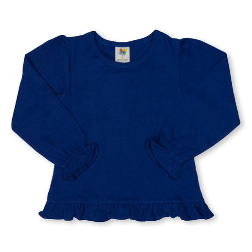 Navy Long Sleeve Ruffle Tee