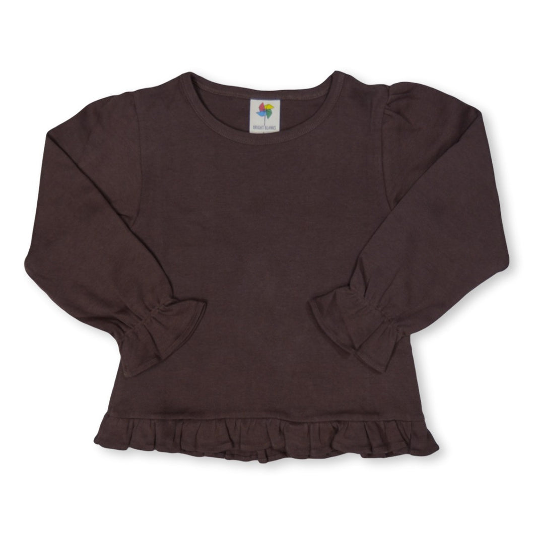 Brown Long Sleeve Ruffle Tee