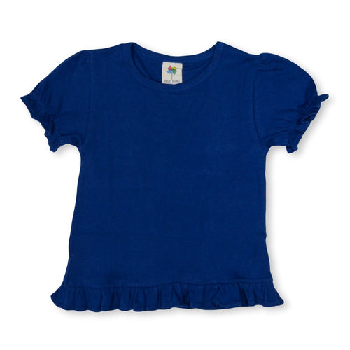 Navy Short Sleeve Ruffle Tee