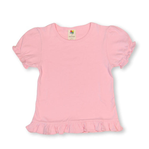 Light Pink Short Sleeve Ruffle Tee