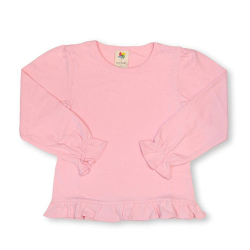Light Pink Long Sleeve Ruffle Tee