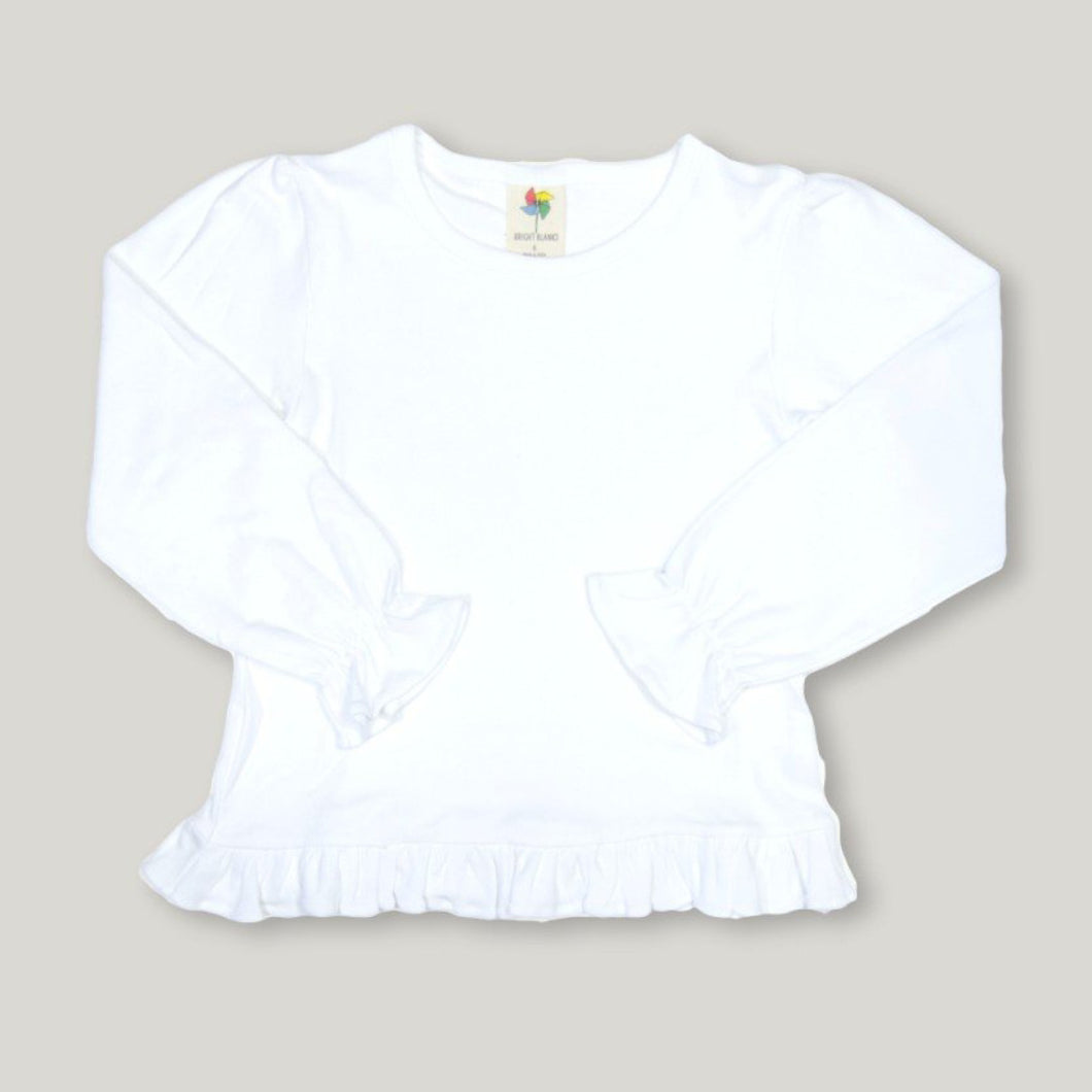 White Long Sleeve Ruffle Tee