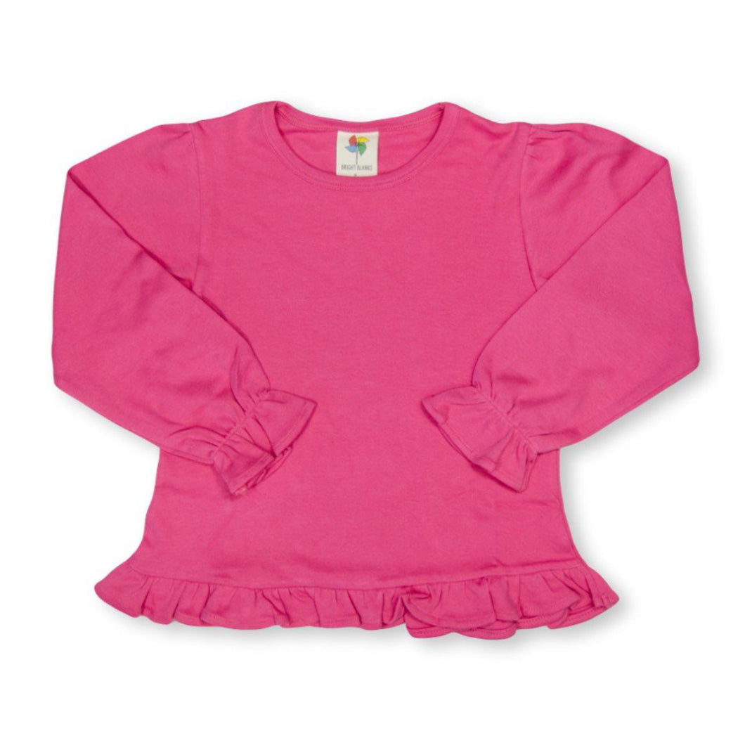 Dark Pink Long Sleeve Ruffle Tee