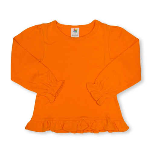 Orange Long Sleeve Ruffle Tee