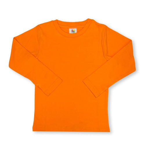 Orange Long Sleeve Plain Tee