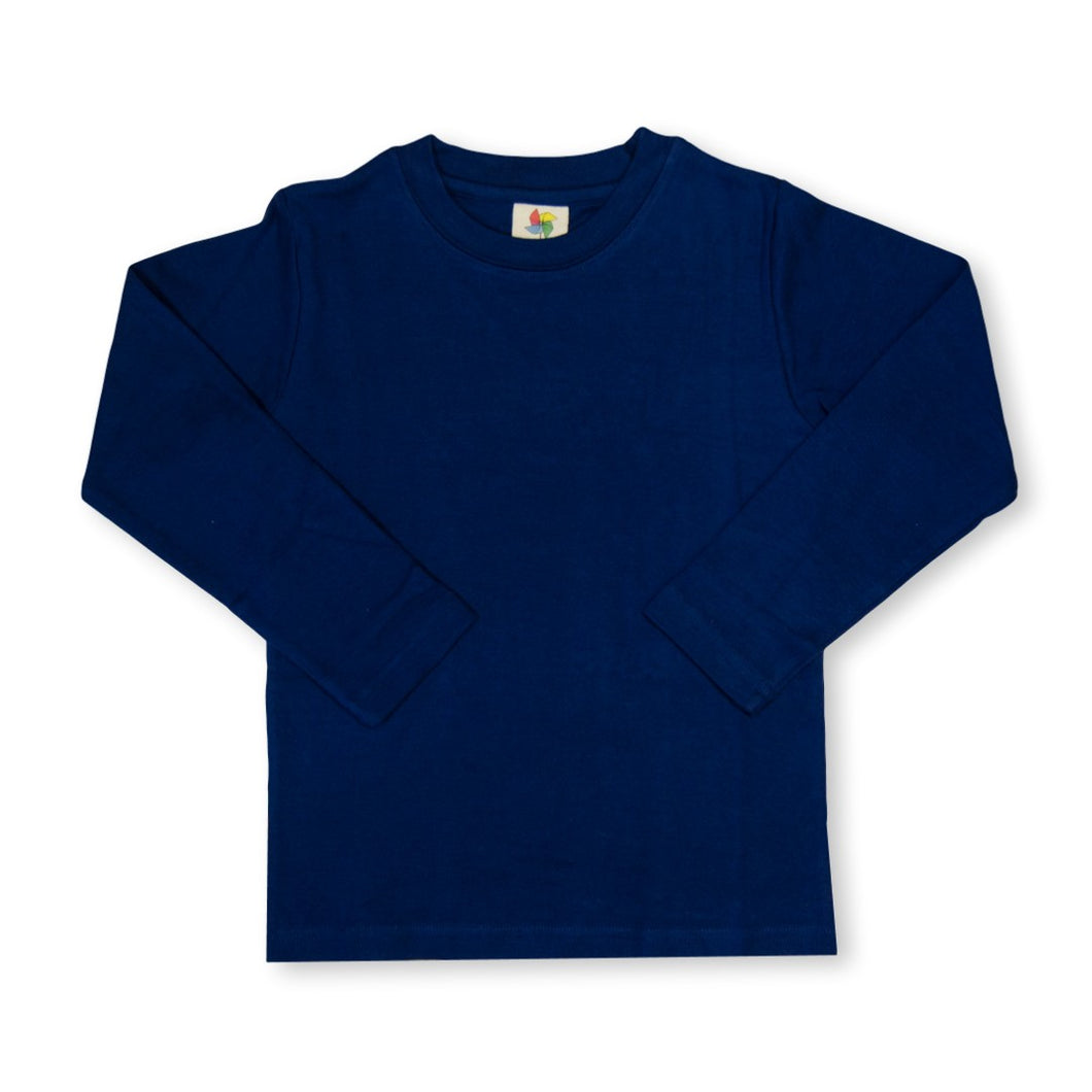 Navy Long Sleeve Plain Tee