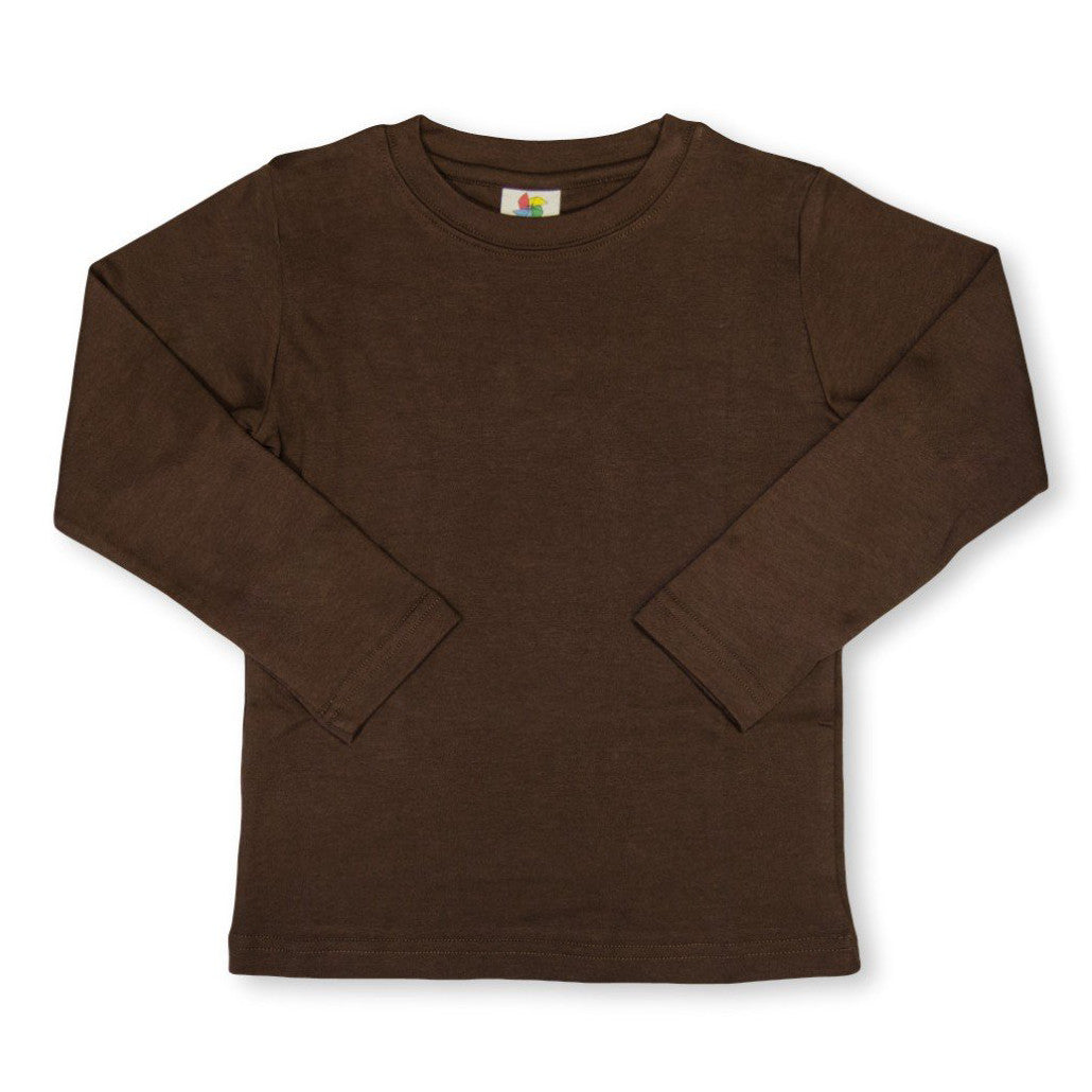 Brown Long Sleeve Plain Tee