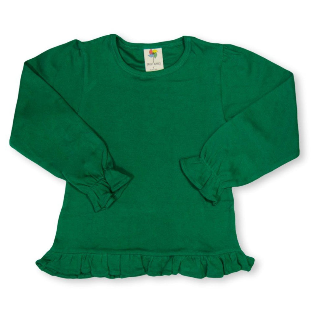 Green Long Sleeve Ruffle Tee