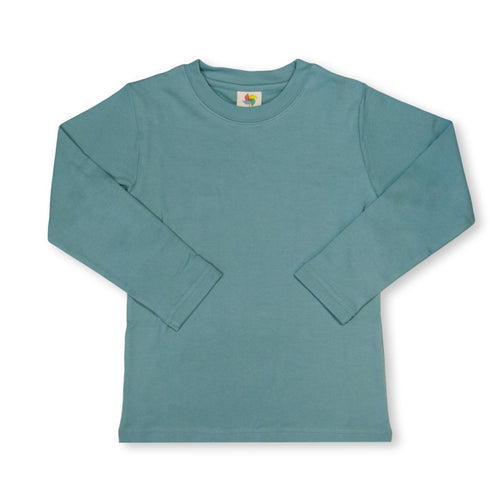 Steel Blue Long Sleeve Plain Tee
