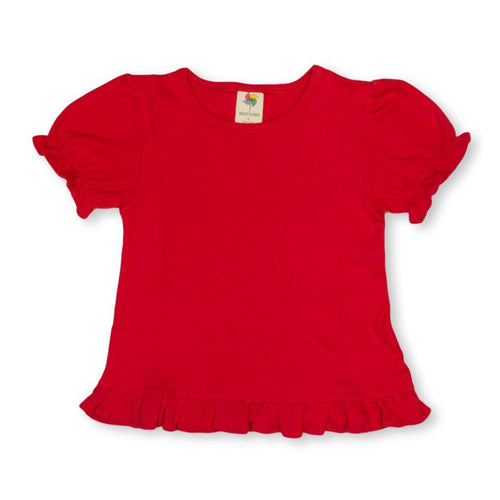 Red Short Sleeve Ruffle Tee