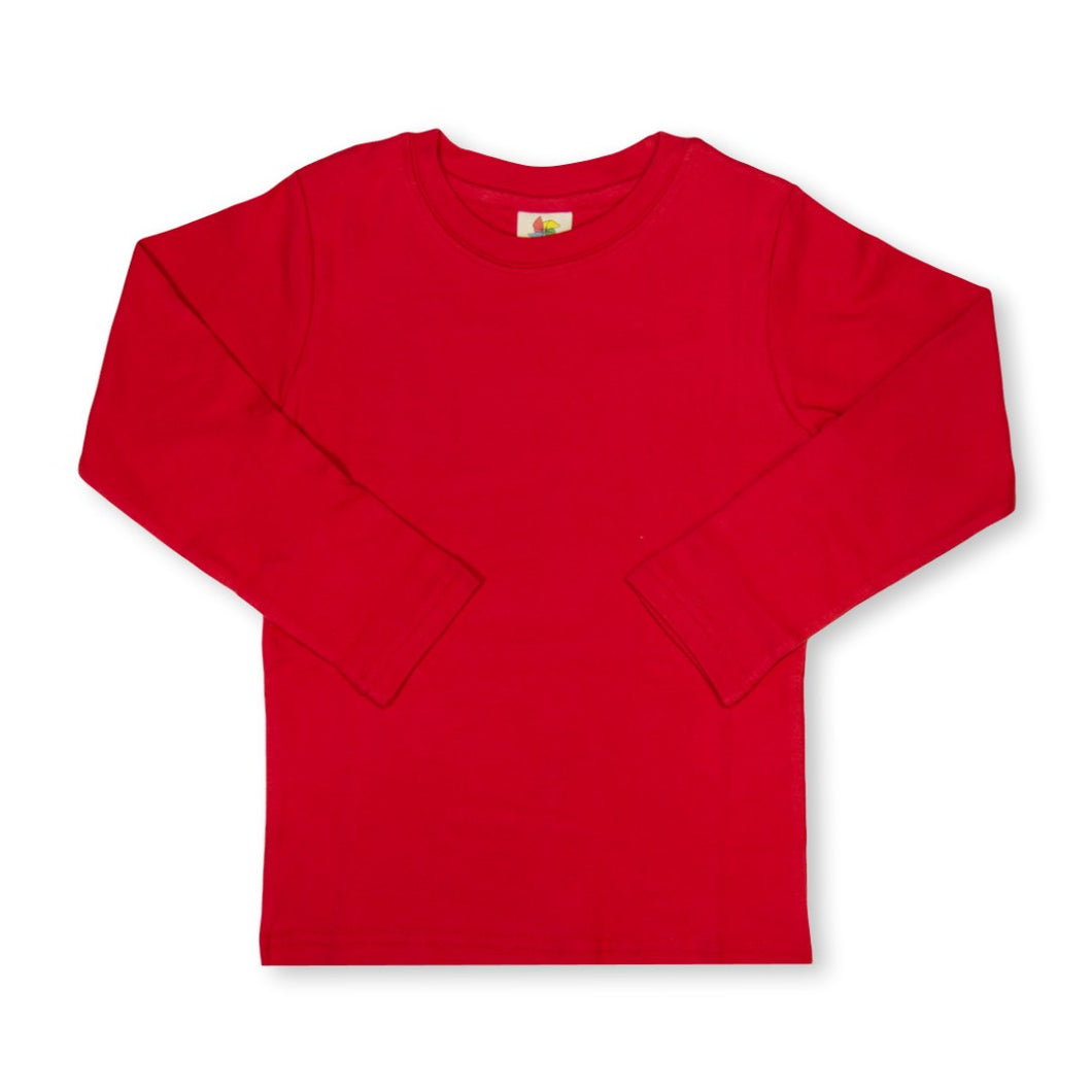 Red Long Sleeve Plain Tee