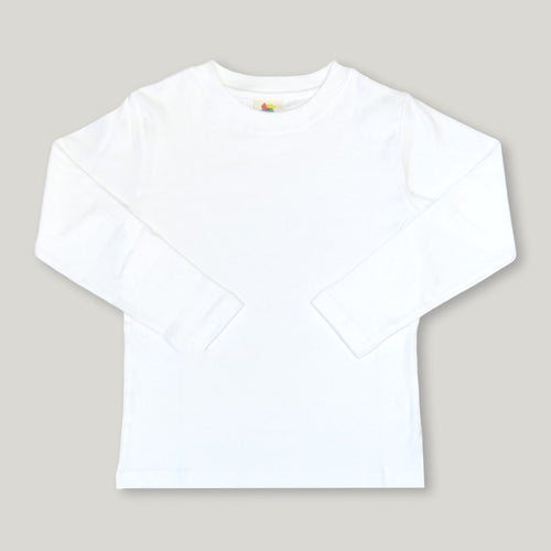 White Long Sleeve Plain Tee