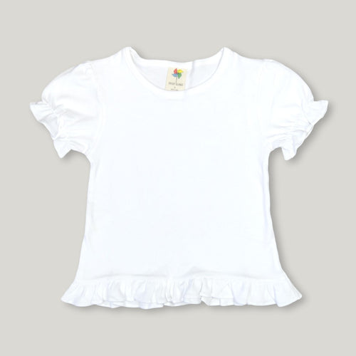 White Short Sleeve Ruffle Tee