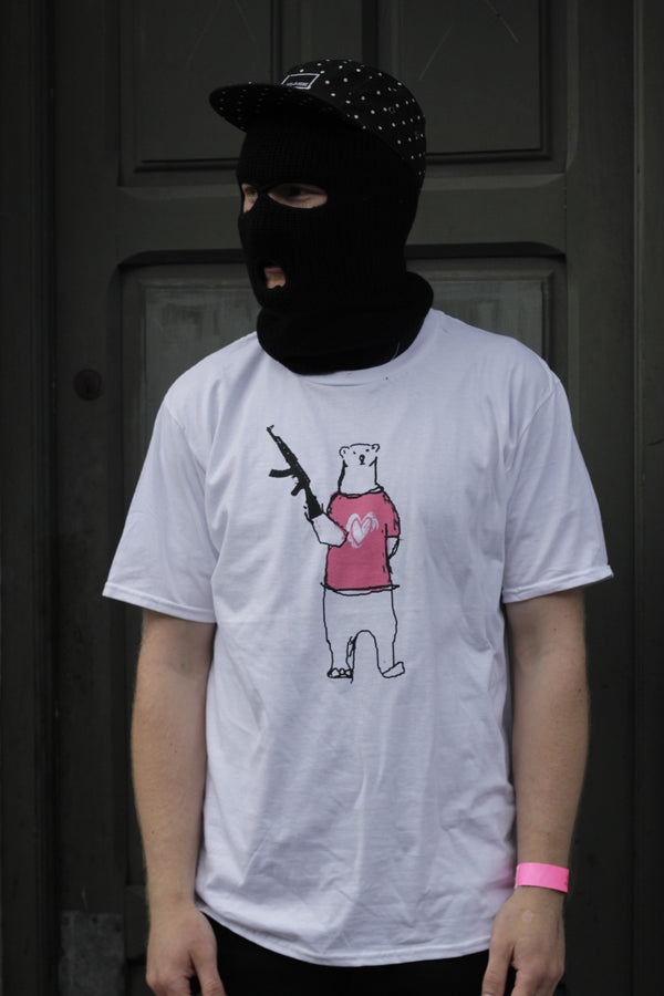 BPB Wear, Biolar Bear with Dara Kenny wearing a balaclava